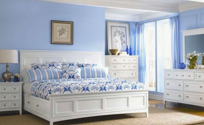 Une décoration d'une chambre aux murs bleus