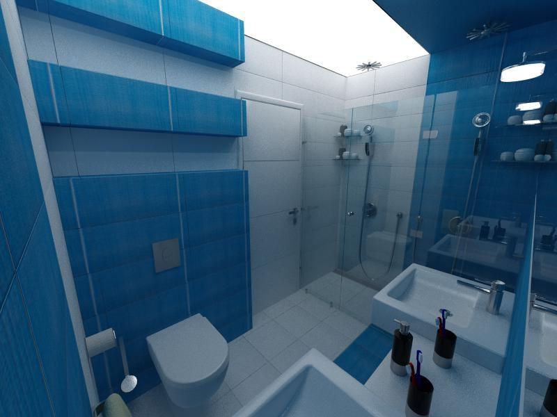 une idée pour la décoration d`une salle de bain en bleu foncé