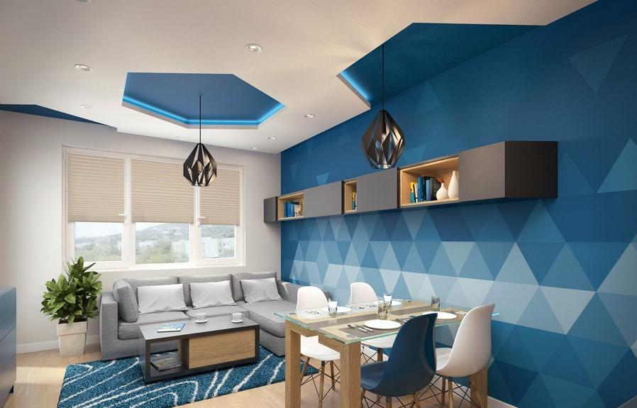 Décoration du mur en bleu