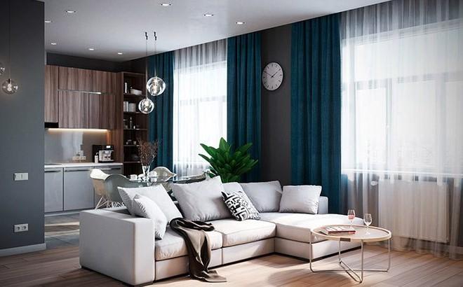 Une décoration de chambre avec une combinaison d'éléments bleus, en bois et naturels