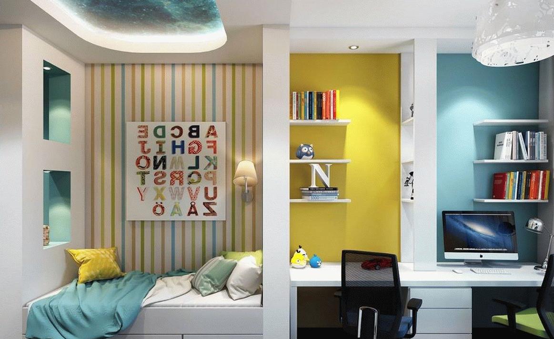 Une décoration d`une chambre pour adolescents en bleu