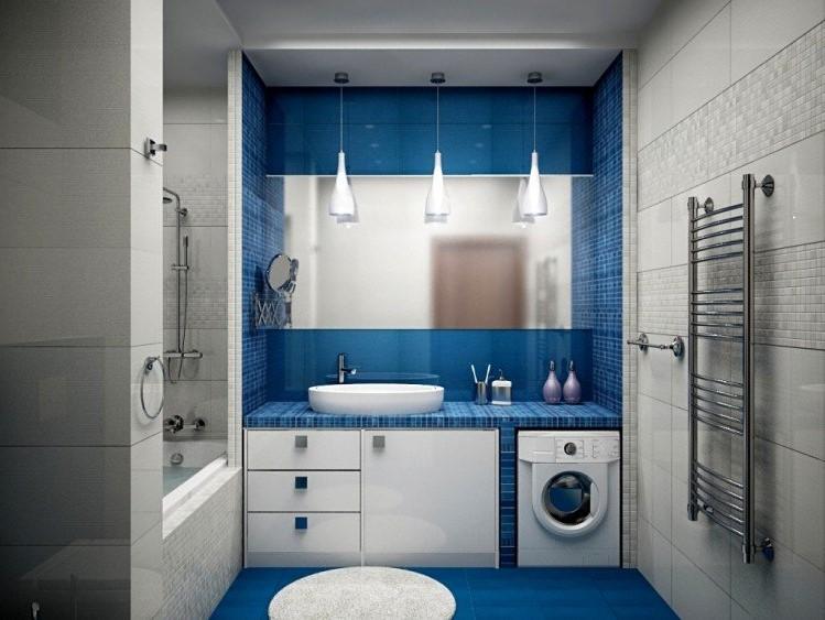 Une idée de décoration de salle de bain en bleu