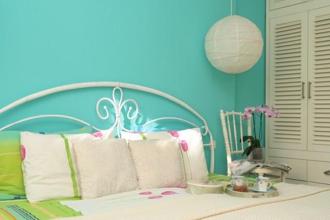 Décoration de chambre à coucher en turquoise