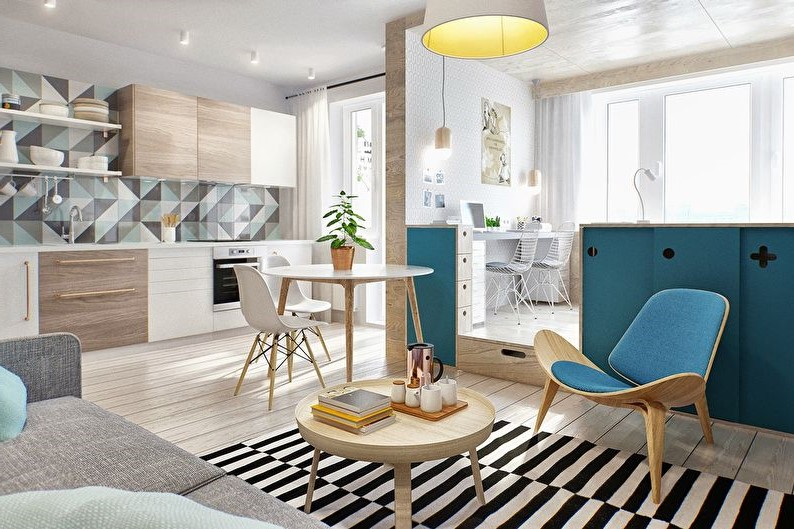 Décoration de la chambre avec des éléments en bois et bleus