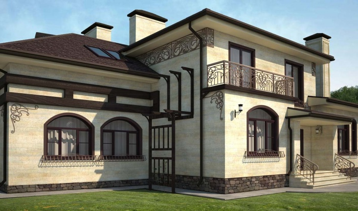 Modern decoration with metal elements for the exterior wall of the house