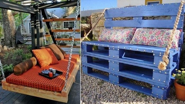 Deux Idées pour des balançoire avec des palettes en bois dans le jardin