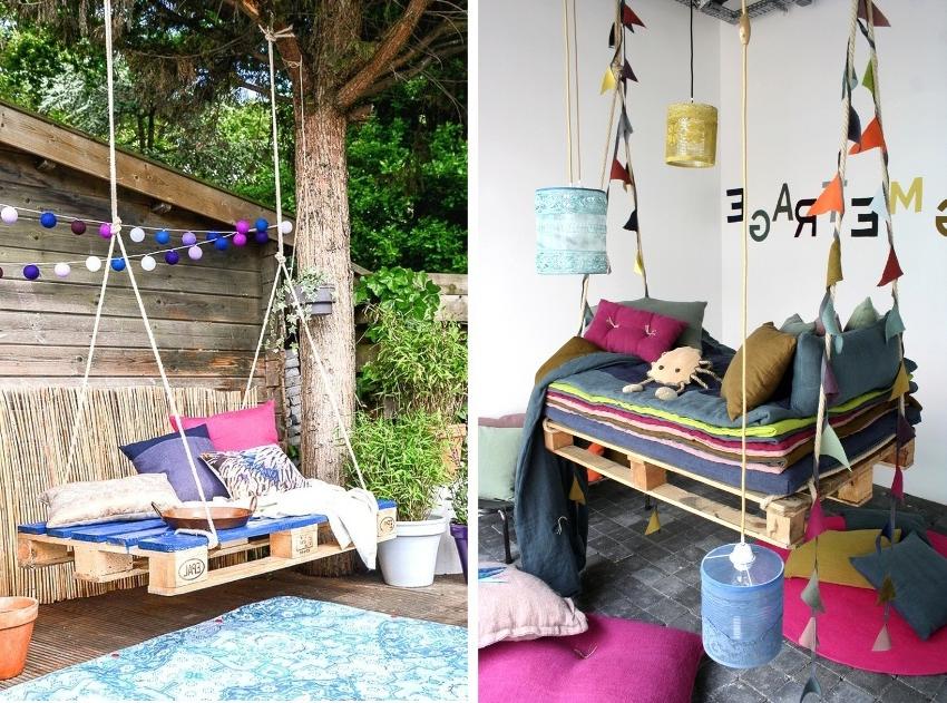 Une idée de palette pour le jardin - lа balançoire
