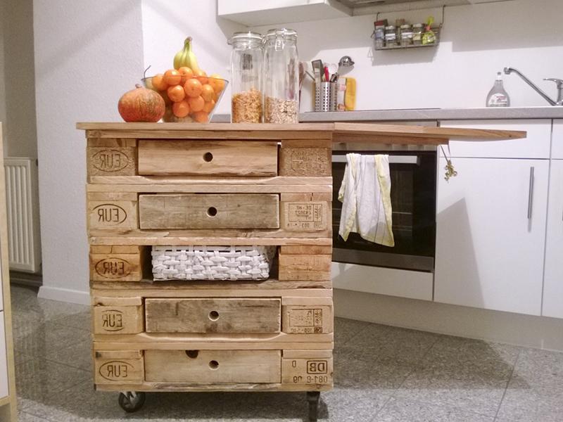 Une idée des étagères avec des palettes pour la cuisine