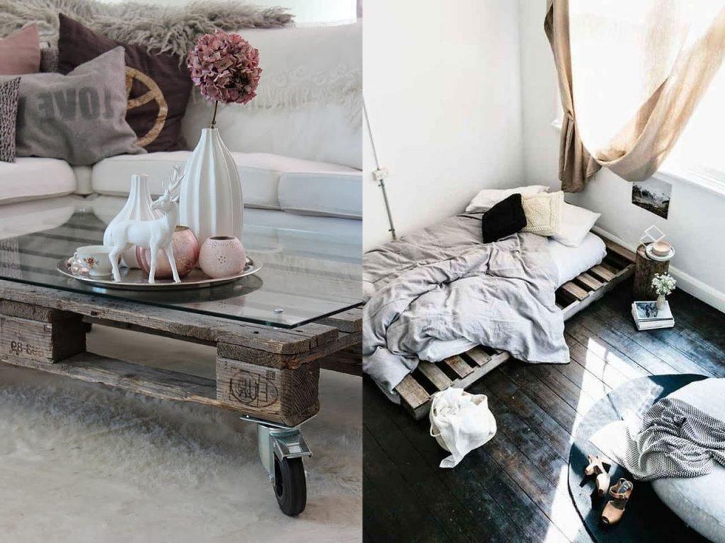 Une idée de lit et table avec des palettes