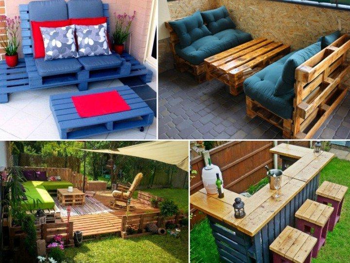 Une idée de canapé, table et bar avec des palettes pour le jardin