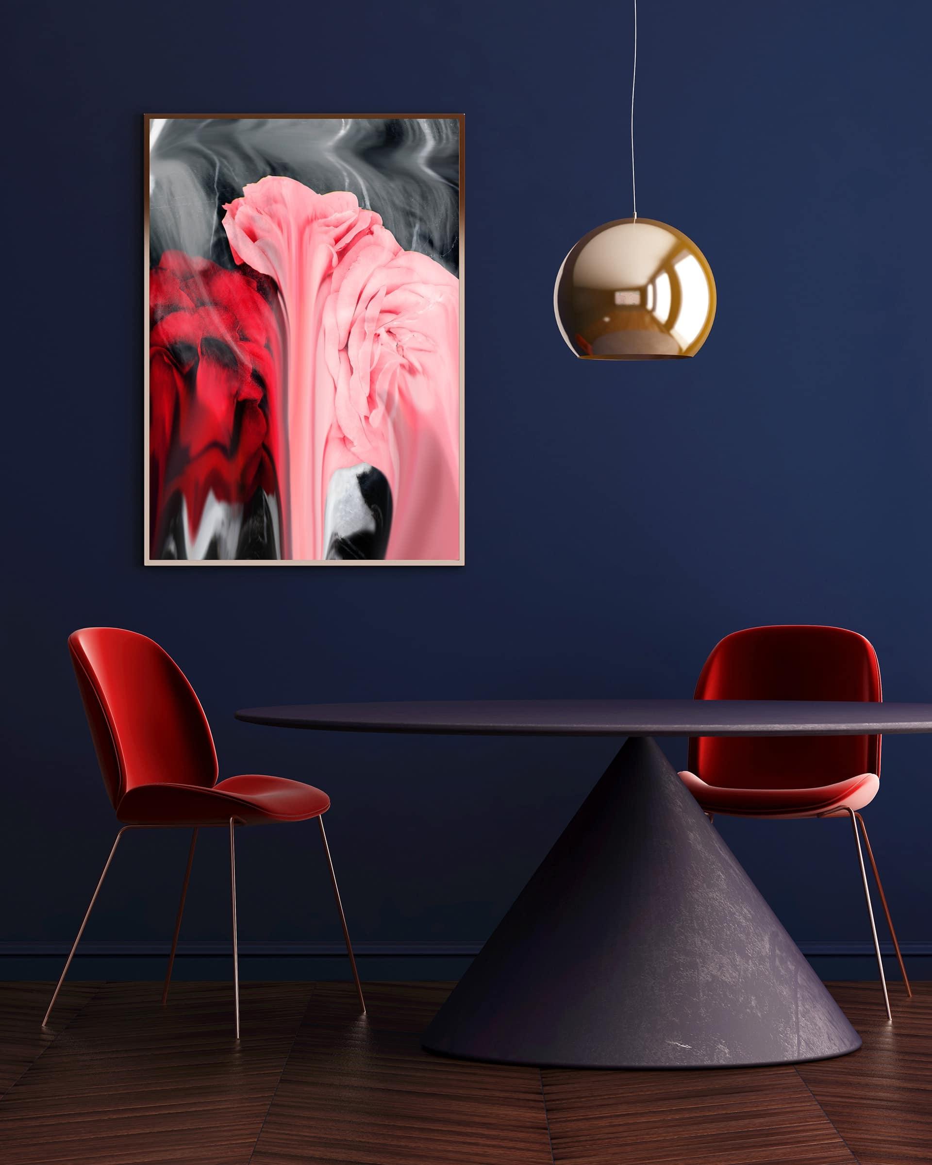 Un autre bon exemple de bleu et de rouge. L'accent est ici sur la table inhabituelle.