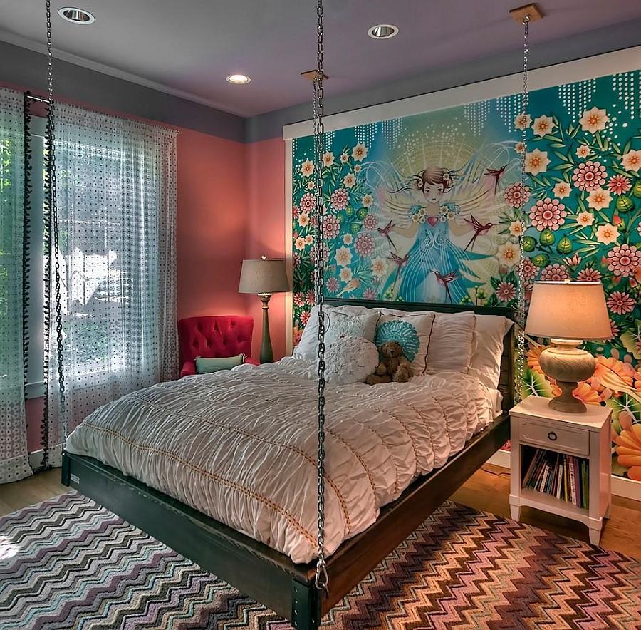 Certes, l'accent dans cette pièce est le lit suspendu.