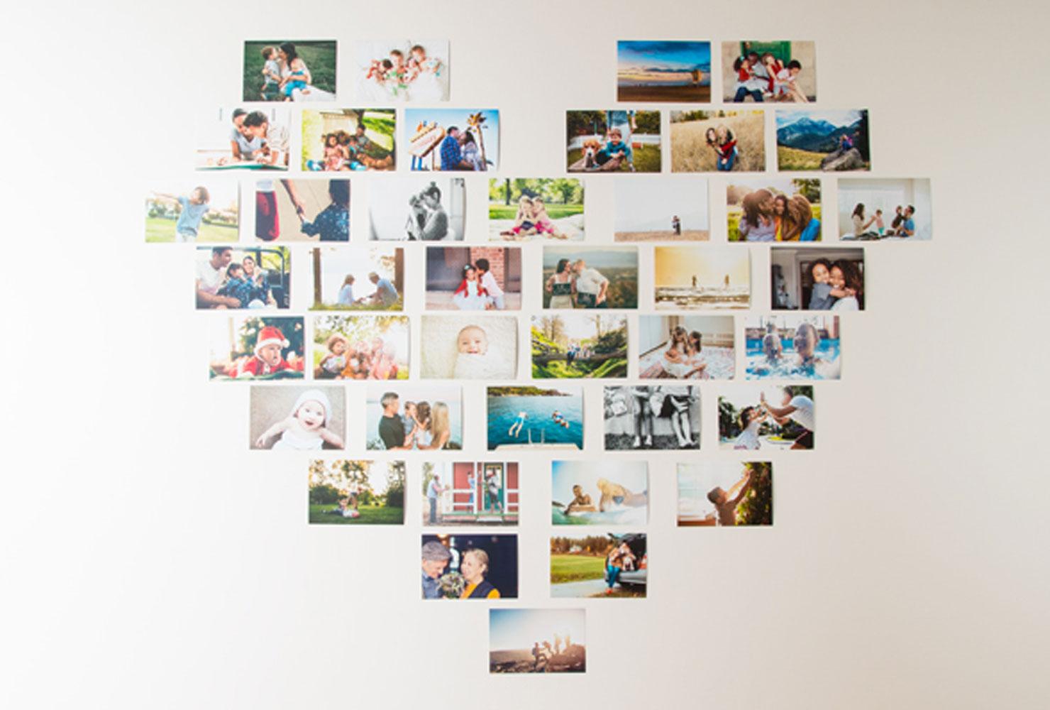 Idée déco simple: galerie de photos en forme de coeur.