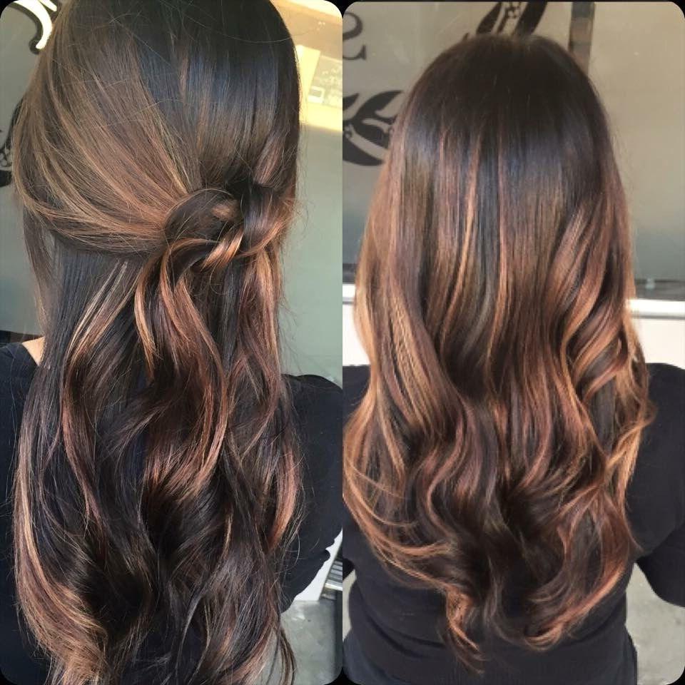 Balayage miel cheveux brun