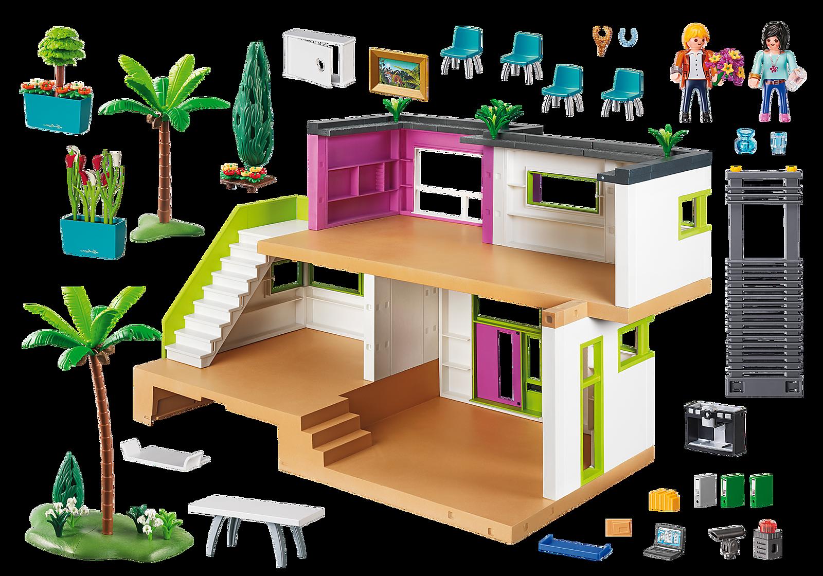La maison moderne playmobil a beaucoup d'accessoires à jouer.