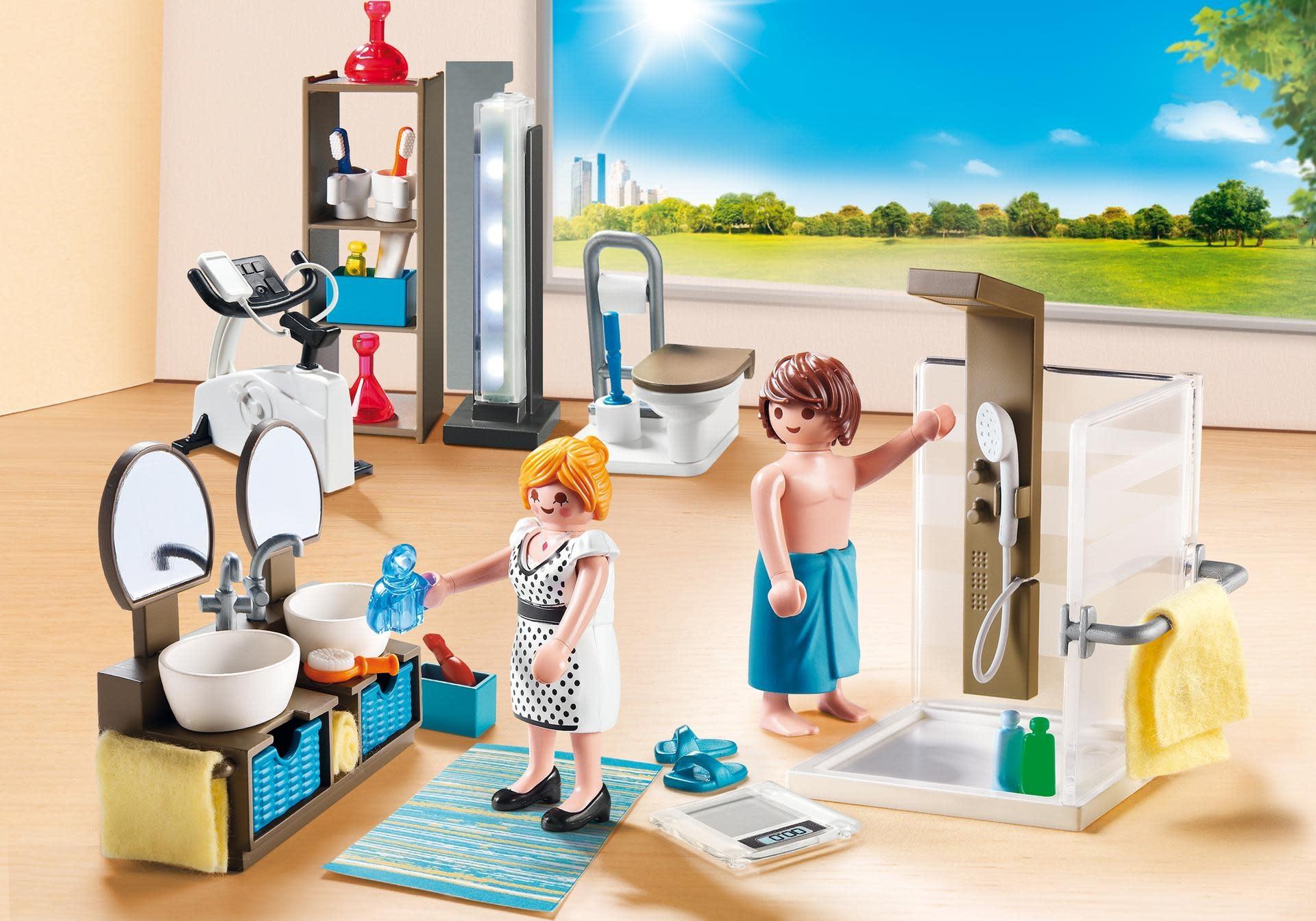 Maison moderne playmobil- se détendre dans la salle de bain.