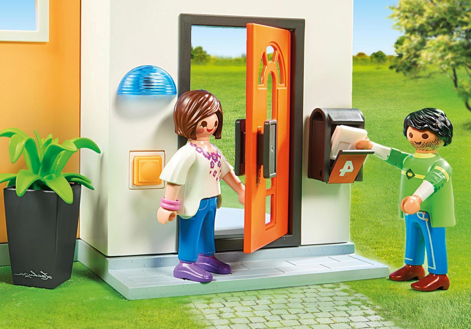 Maison moderne playmobil- le courrier arrive toujours à temps.