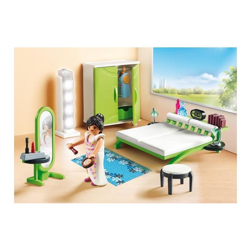 Maison moderne playmobil- la chambre à coucher confortable.