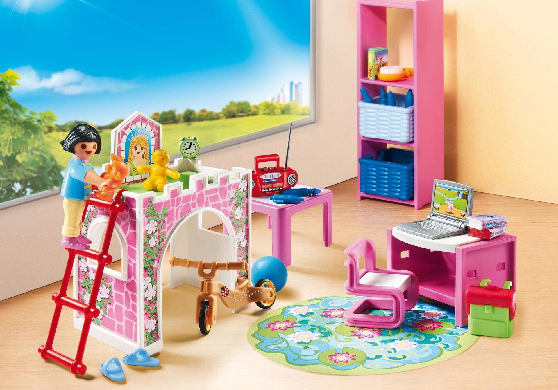 Maison moderne playmobil- la chambre d'enfant est bien arrangée.