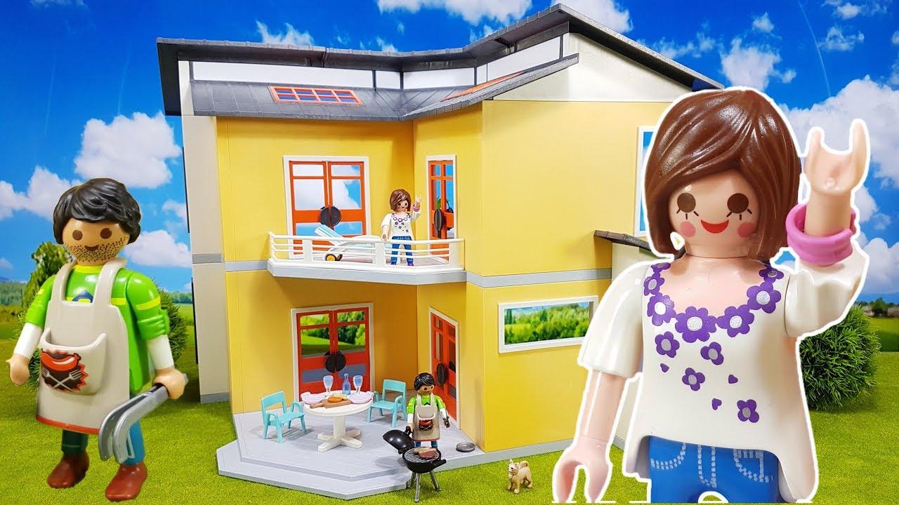 Maison moderne playmobil- toute la famille est ici.