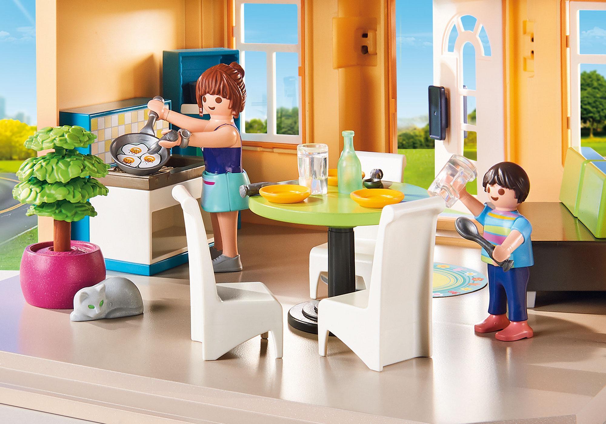 Maison moderne playmobil- petit déjeuner à la maison.