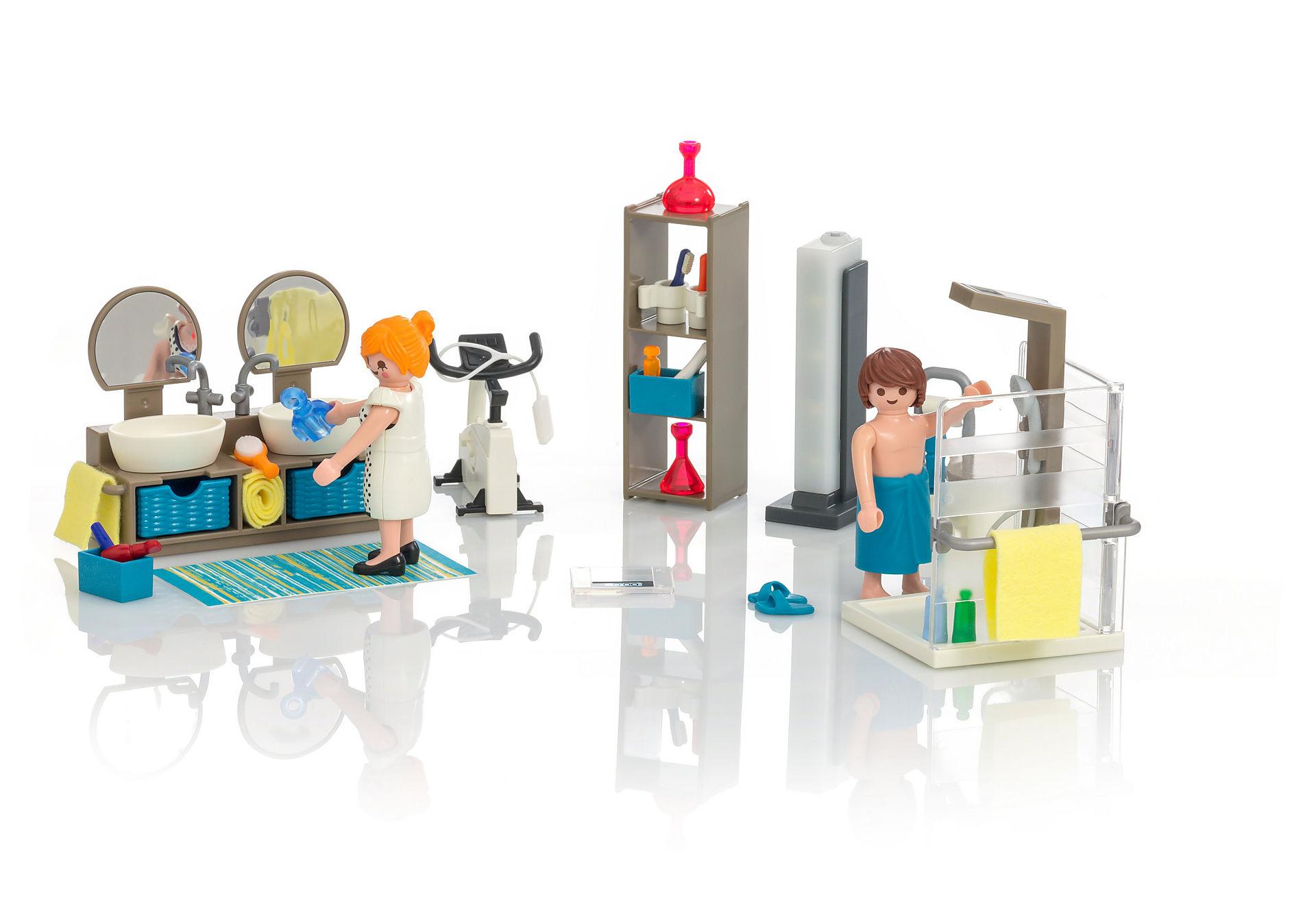 Maison moderne playmobil- la salle de bain est un endroit préféré.