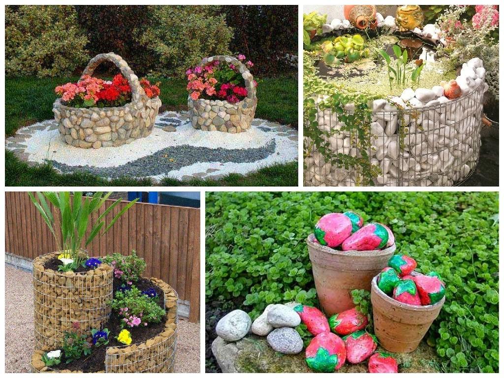 Idée de déco de jardin avec des fleurs et des pierres décoratives