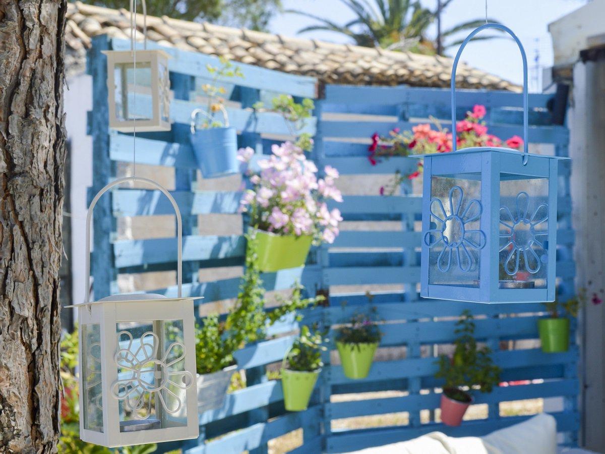 Déco du jardin de couleur bleue