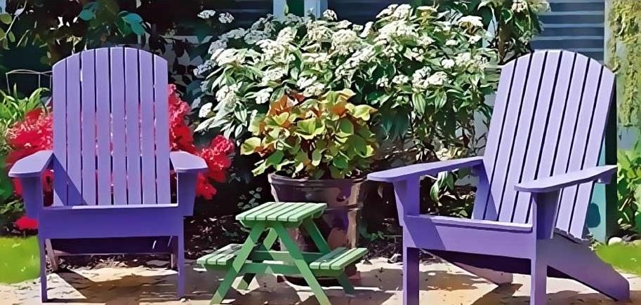 Déco de mobilier de jardin de différentes couleurs