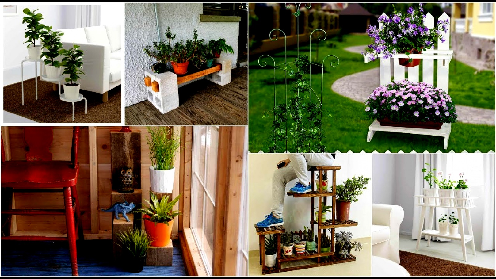 Idée pour déco le jardin avec des fleurs dans les étagères