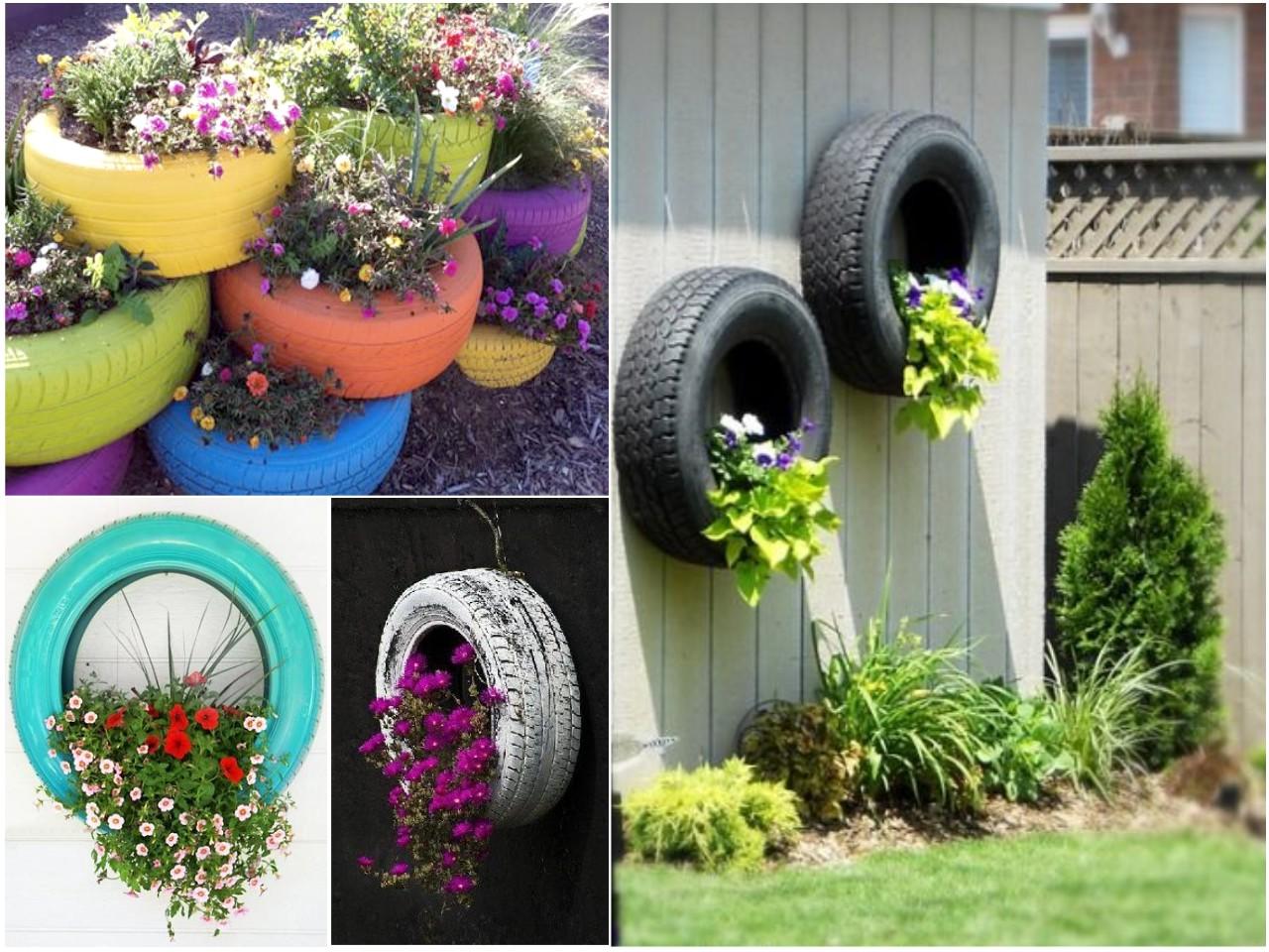 Une idée de déco le jardin avec des fleurs en pneus