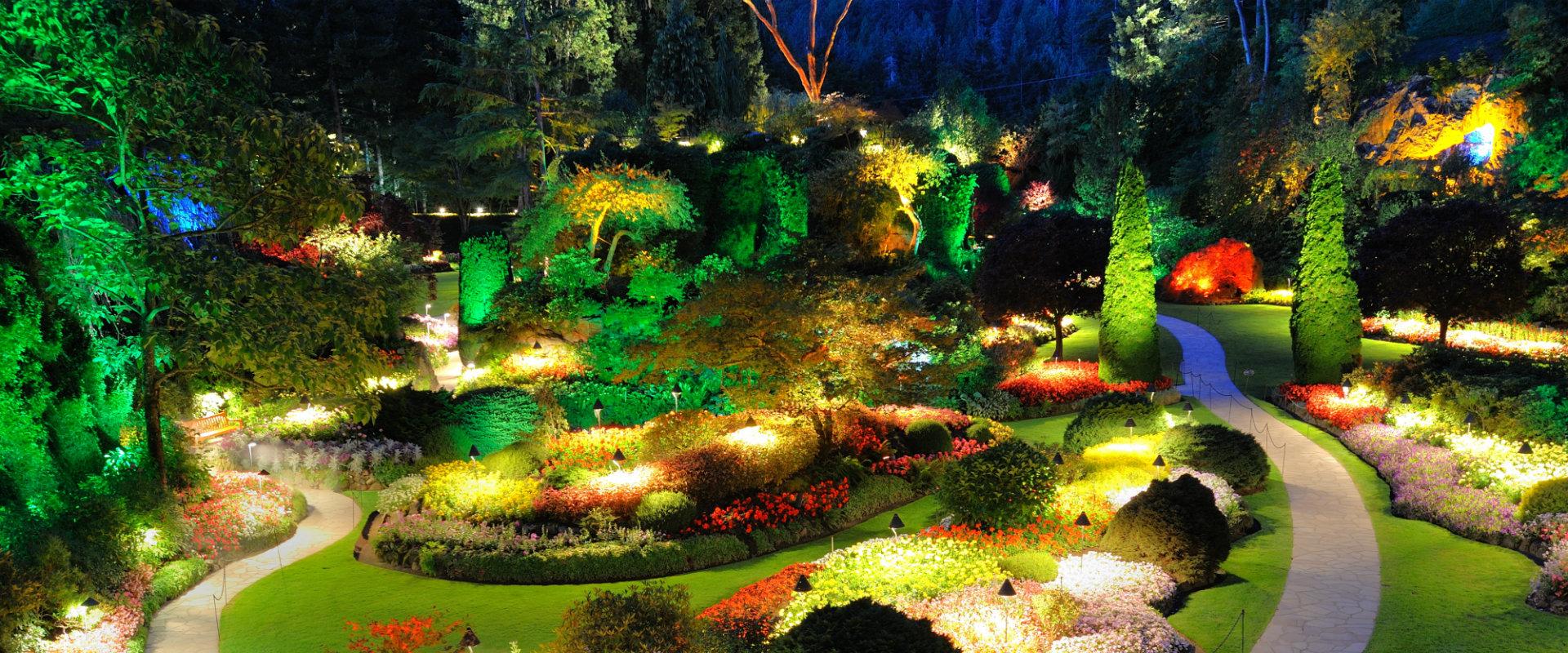Une idée de déco le jardin avec différentes lumières