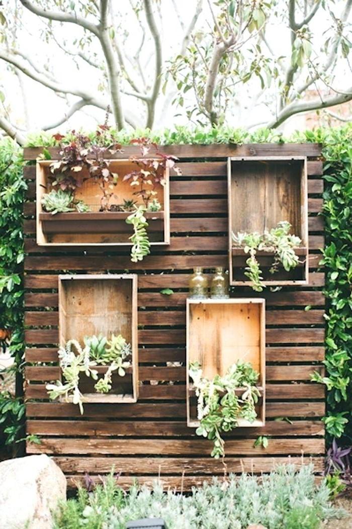 En plus du lierre, vous pouvez ajouter un mur avec des étagères avec d'autres plantes.