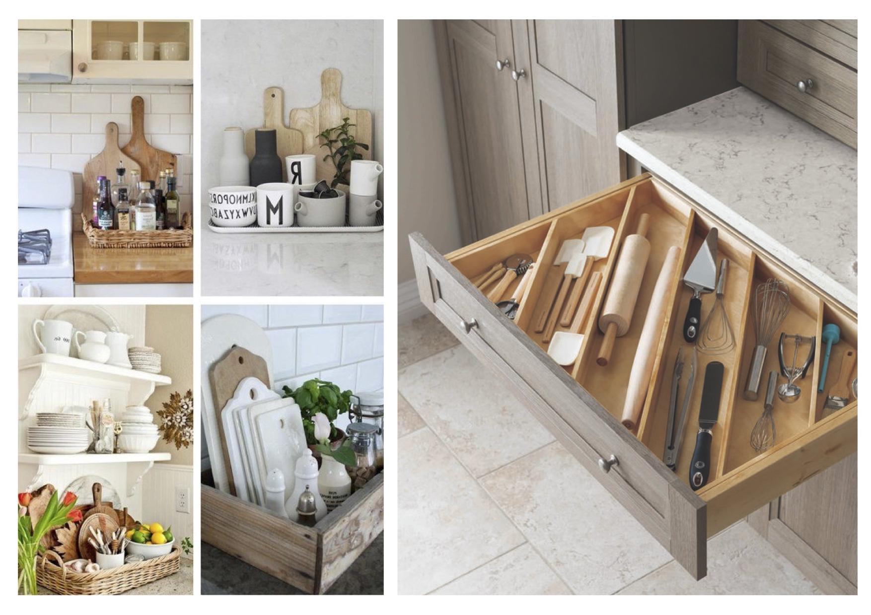 Pour une cuisine bien rangée, utiliser des boîtes de rangement dans les armoires