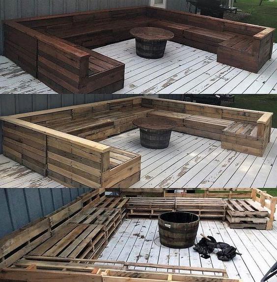 Meuble de palette - un canapé de jardin en brun