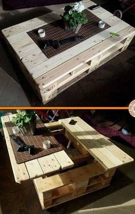 Meuble de palette - une idée pour une table sur deux niveaux