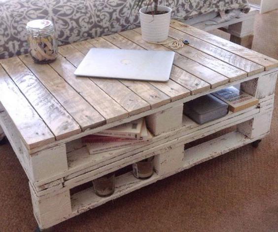 Meuble de palette - une table sur deux niveaux pour un salon