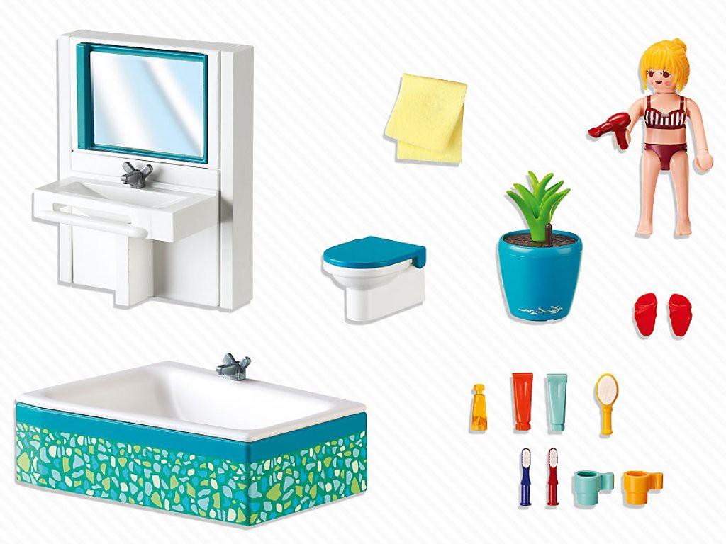 Vous avez beaucoup d'accessoires pour la salle de bain moderne Playmobil