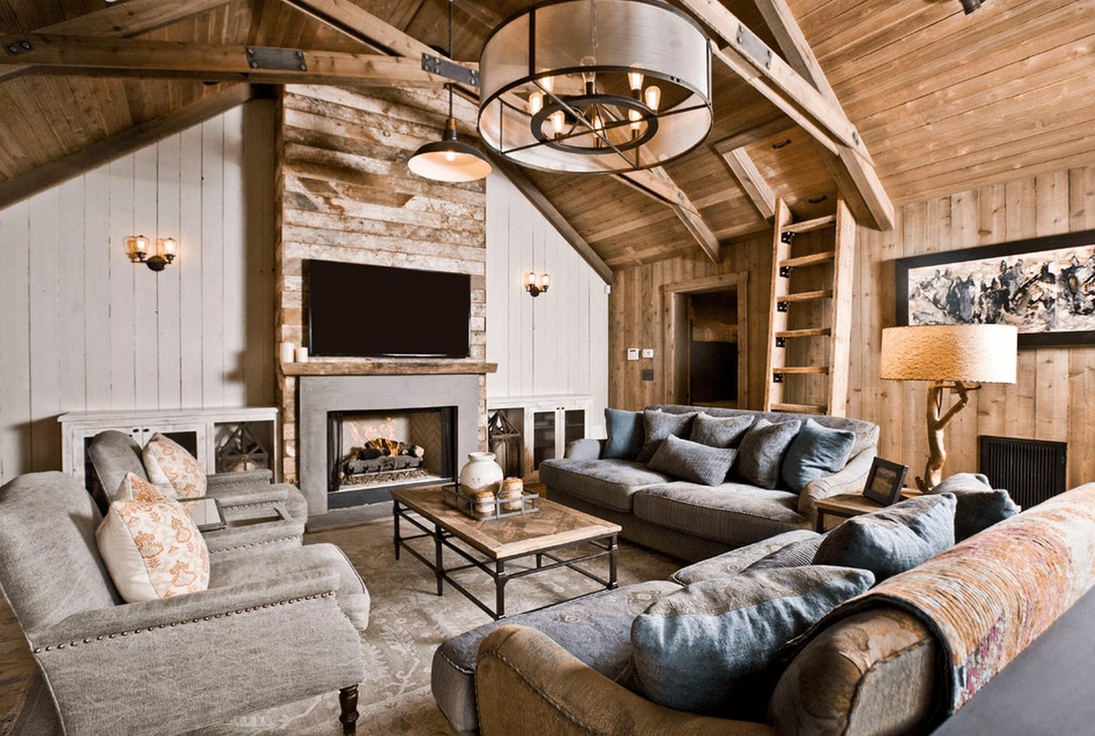 Le plafond et le mur en bois ajoutent un caractère spécifique à l'espace.