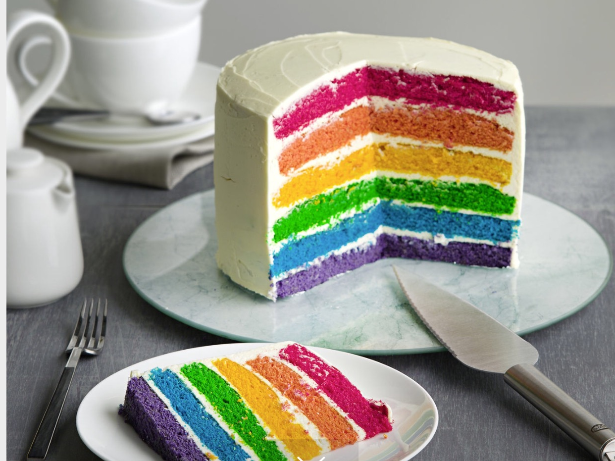 Un dessert créatif- gâteau arc-en-ciel