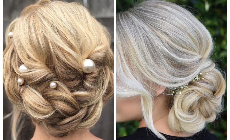 Deux exemples de coiffures de mariage élégantes avec de longs bijoux de cheveux blonds