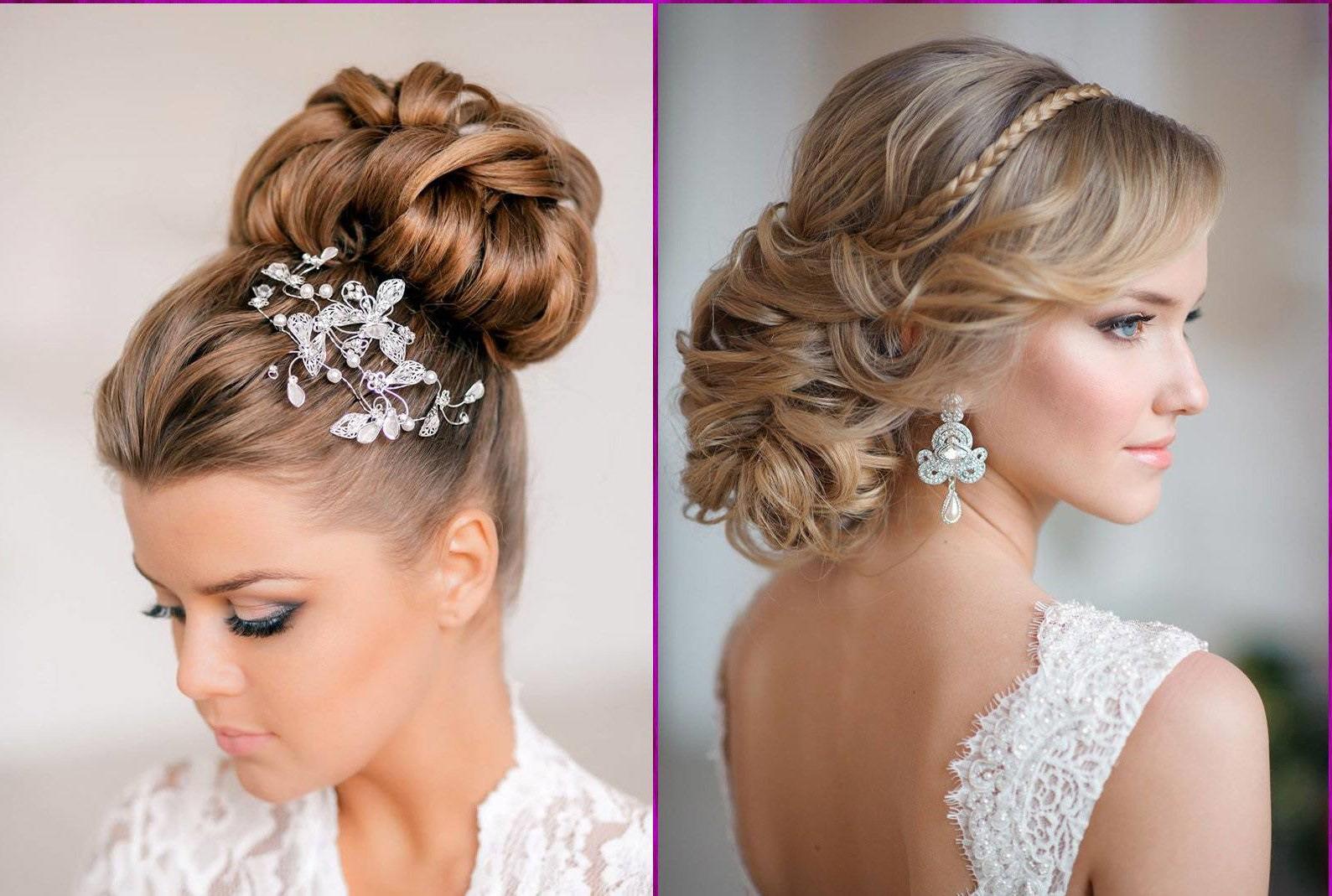 Deux exemples d'élégantes coiffures de mariage aux cheveux longs