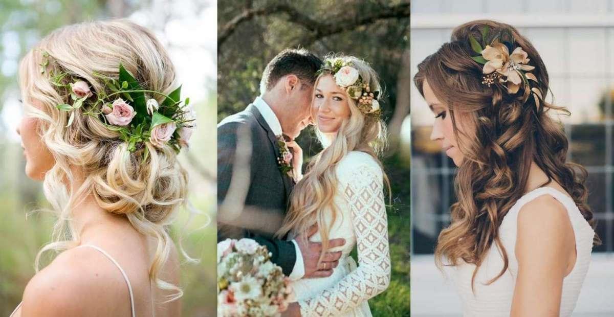 Une coiffure de mariage avec des fleurs fraîches de longs cheveux blonds