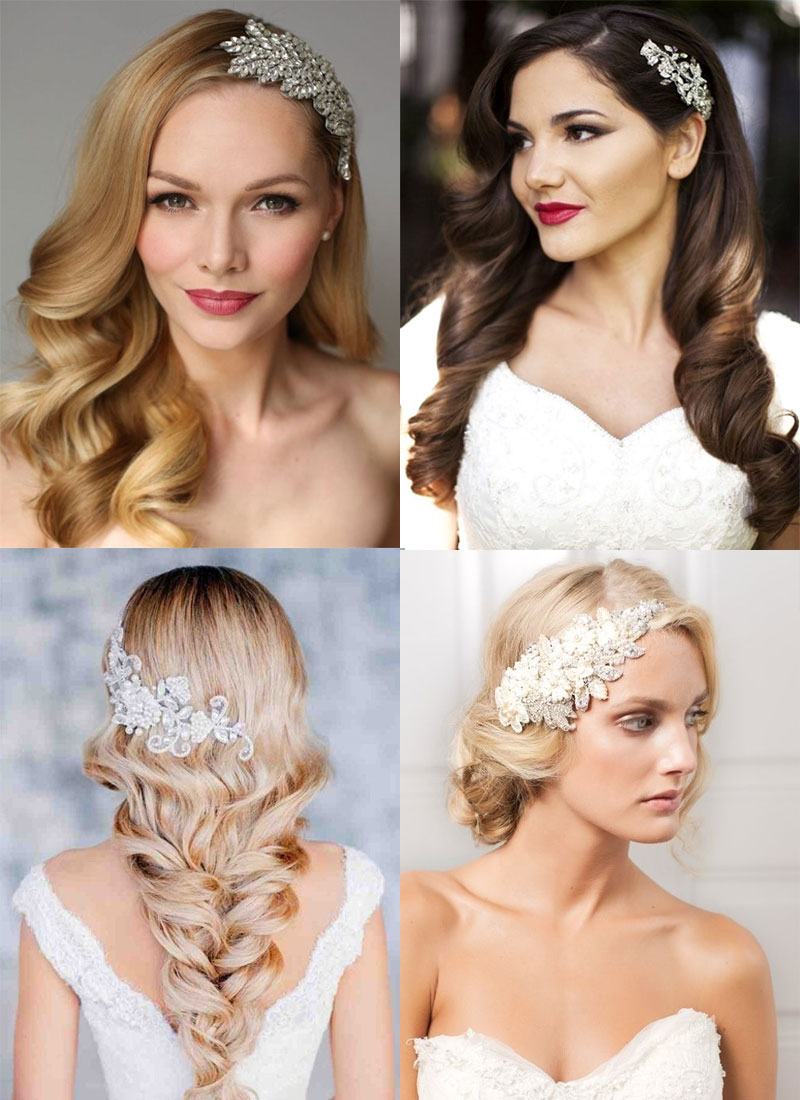 Quatre exemples élégants de coiffures de mariage de cheveux longs