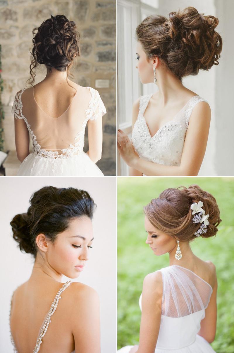 Quatre exemples élégants de coiffures de chignon de mariage cheveux longs