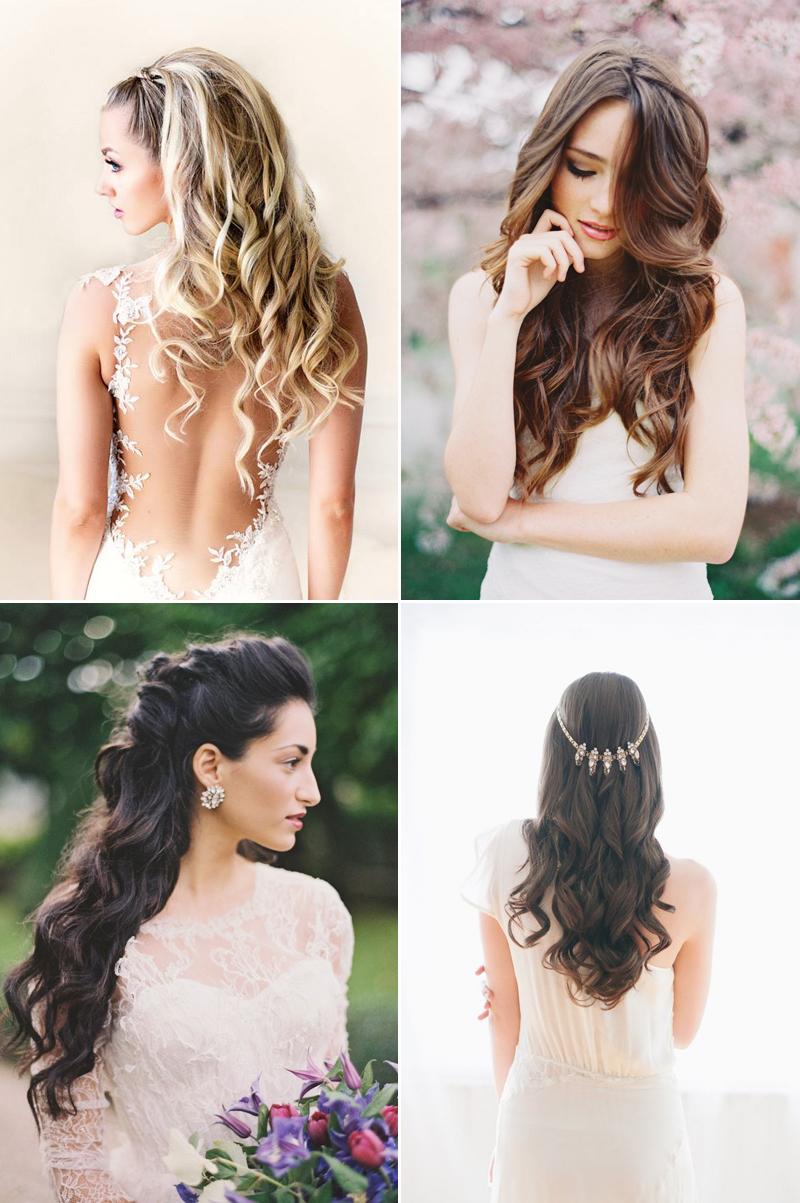 Quatre exemples de coiffures de mariage aux cheveux longs