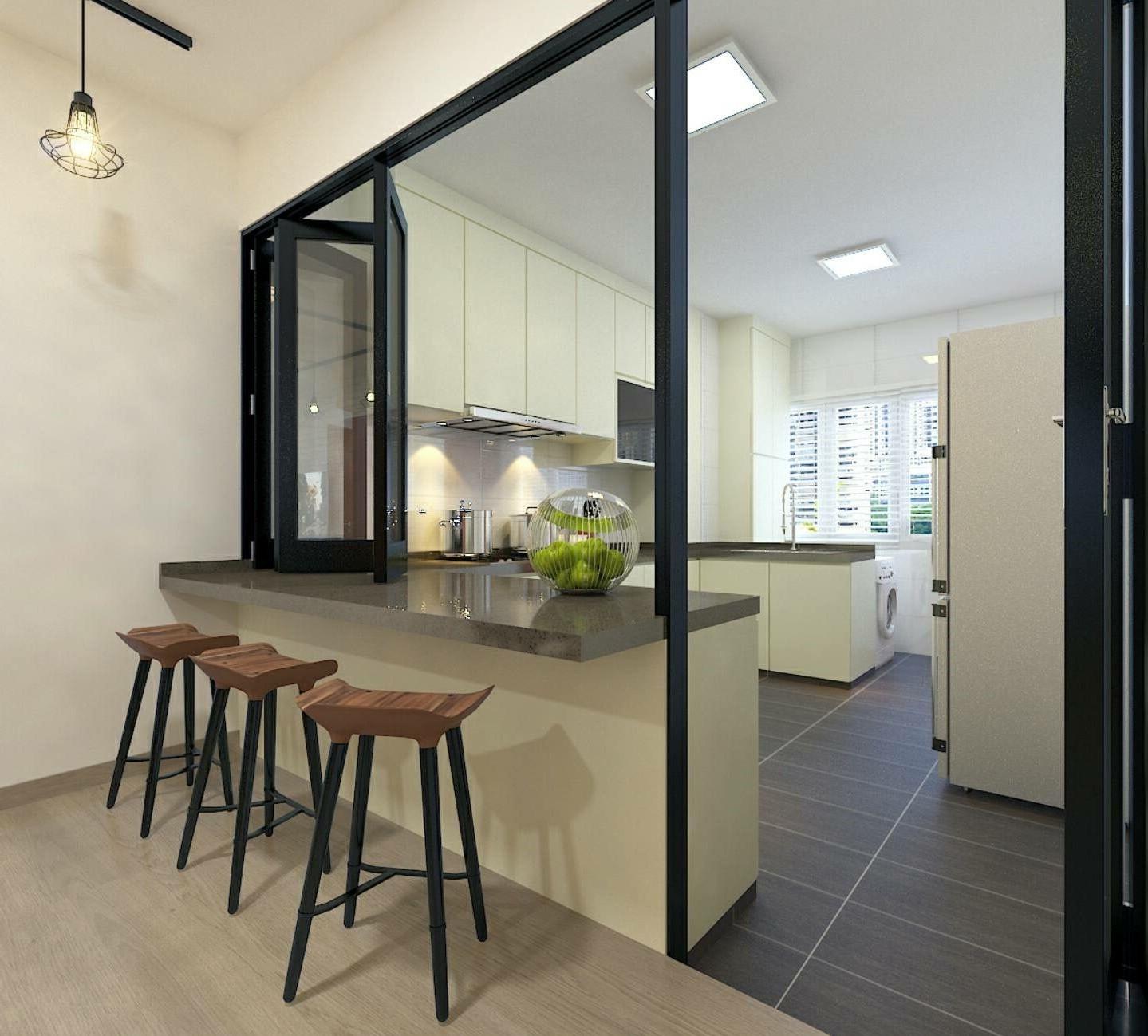 Installez des fenêtres pliantes pour créer une cuisine semi-ouverte.