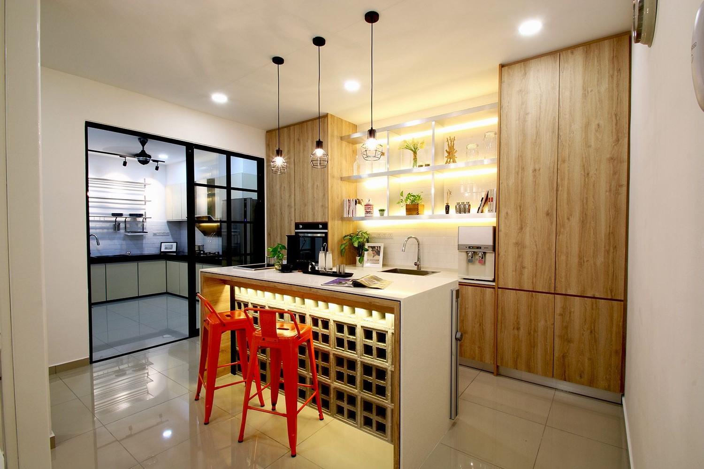 Une cuisine semi-ouverte sur séjour.