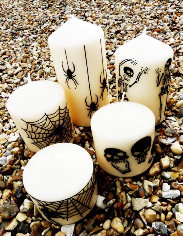 Des bougies personnalisées - idée de bricolage pour l'Halloween