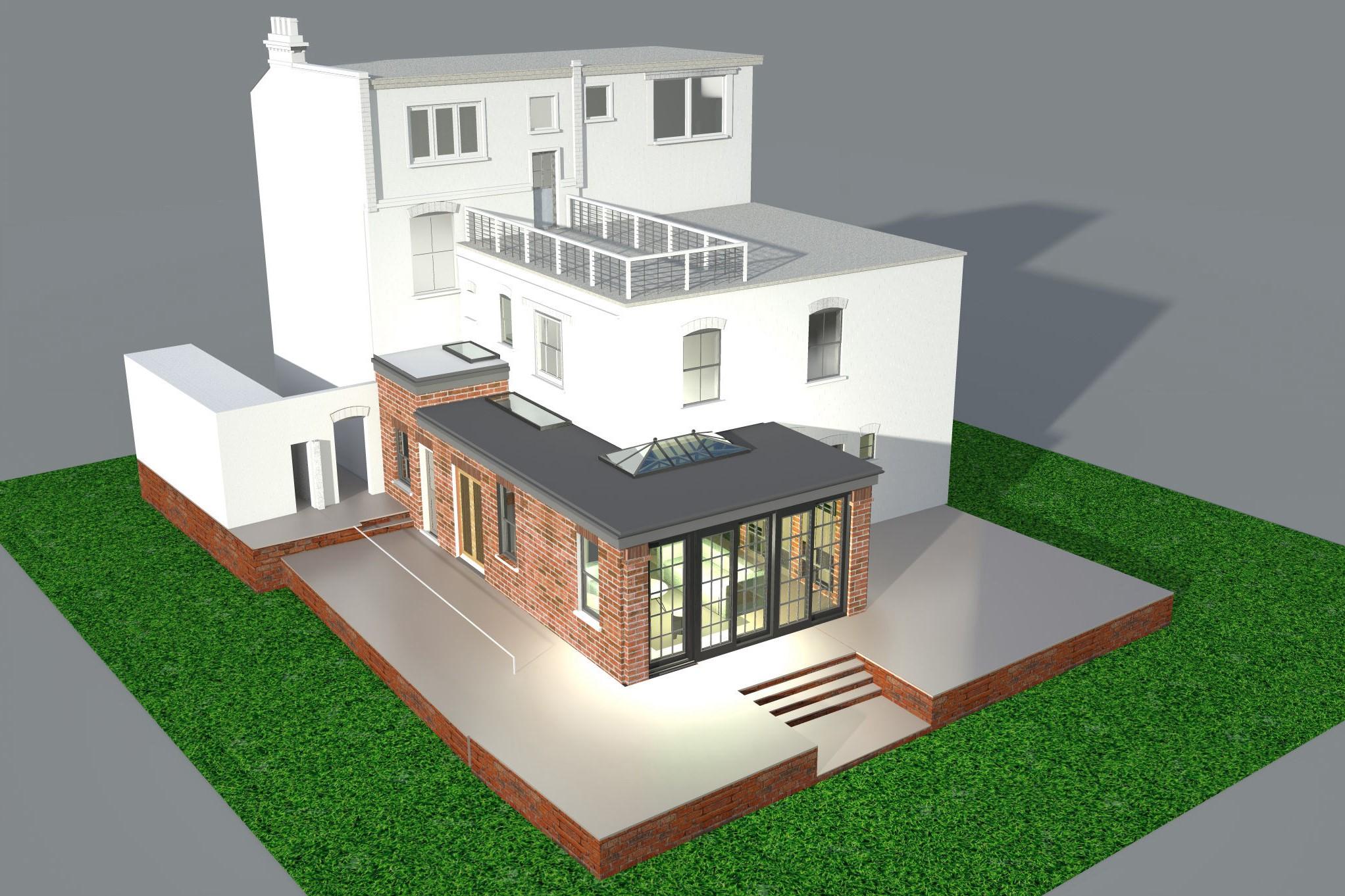Extension de maison à deux étages.